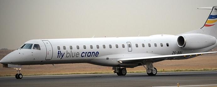 fly blue crane